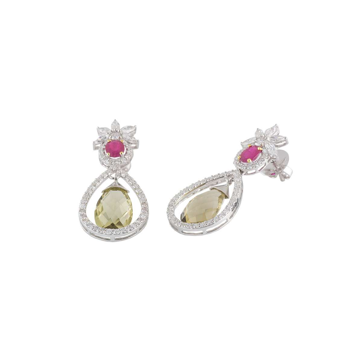 14k White Gold Diamond and Multi-Gemstone Drop Earrings